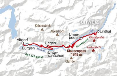 Klausenpass Map