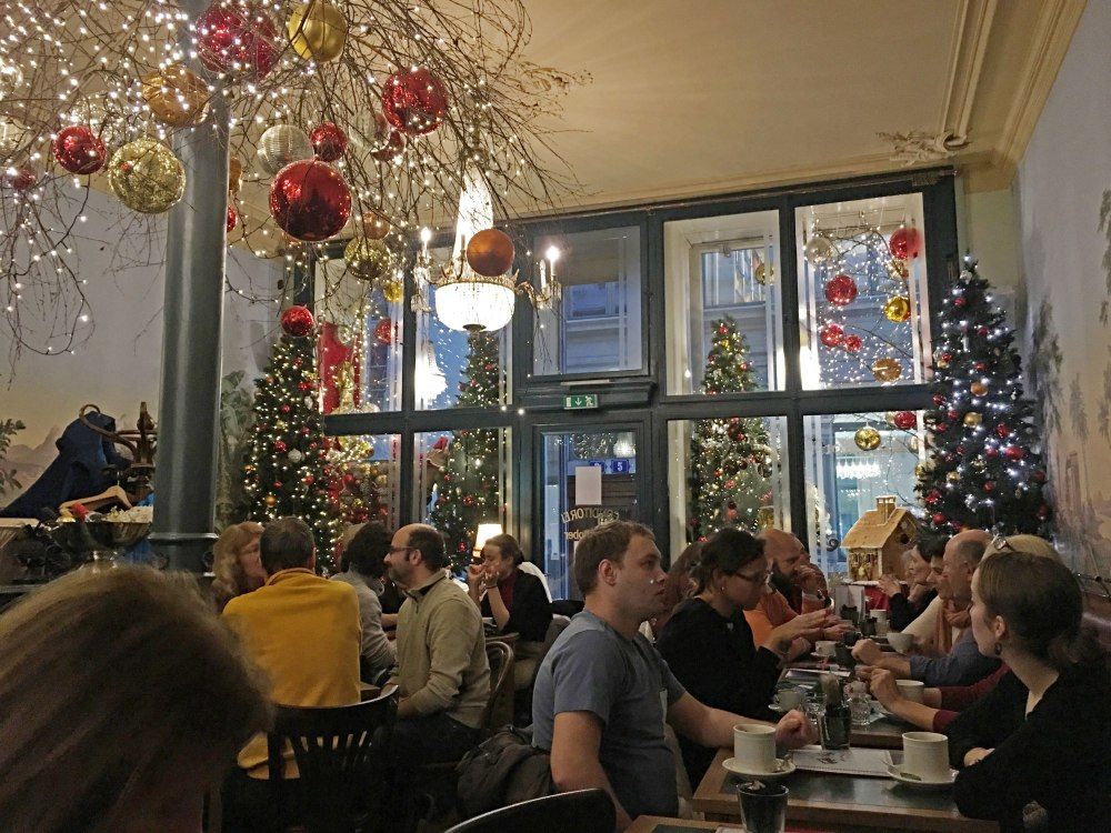 Cafe Schober in the old town of Zurich. The guest rooms are spread over several floors. It is narrow but beautifully decorated.